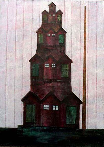 Monument aux cabines de bain - Acrylique sur toile 92 x 65 cm - N°1076 - 10/1997 - Coll. Christine Pastor