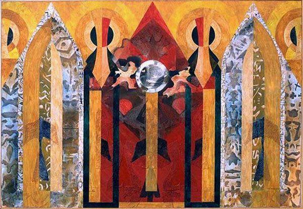 Autel particulier pour regarder en soi - Acrylique sur toile 130 x 89 cm - n°1103 - 02/1996 - Coll. Xavier Levergne