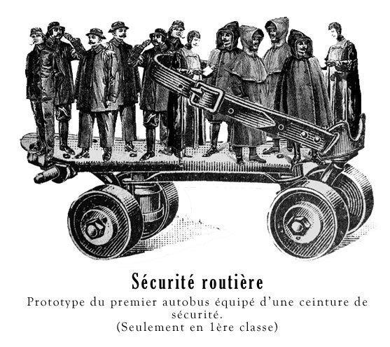 Sécurité routière : prototype du premier autobus équipé d'une ceinture de sécurité. (Seulement en 1ère classe)