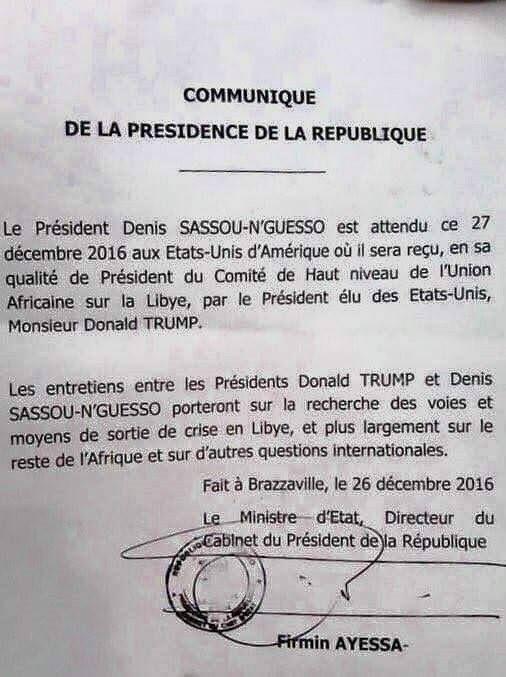 Communiqué portant la signature de Firmin Ayessa, Ministre d'Etat, Directeur de cabinet de Denis Sassou Nguesso