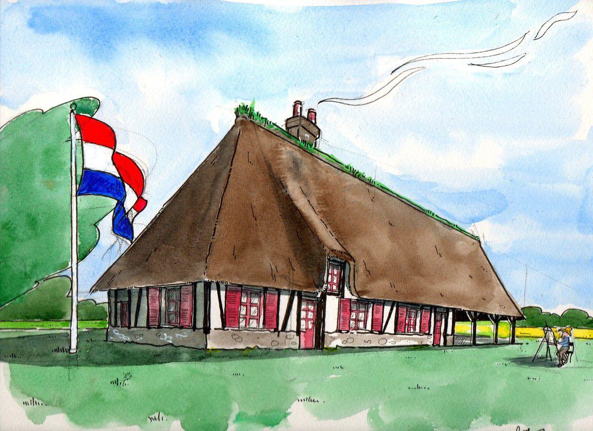 aquarelle et feutre noir - drapeau hollandais à l'acrylique