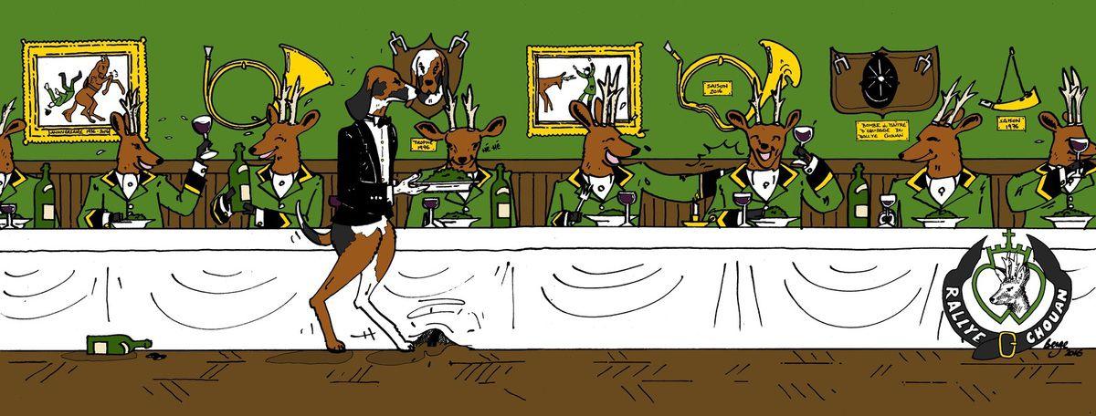 Chevreuils du rallye chouan partageant un repas de chasse.