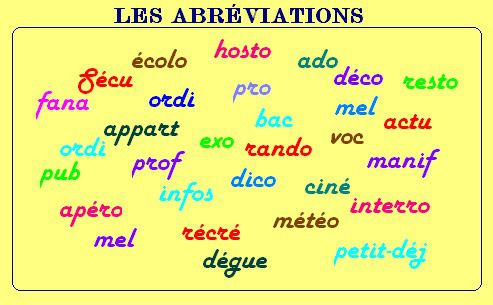 ABREVIATIONS LANGAGE FAMILIER.