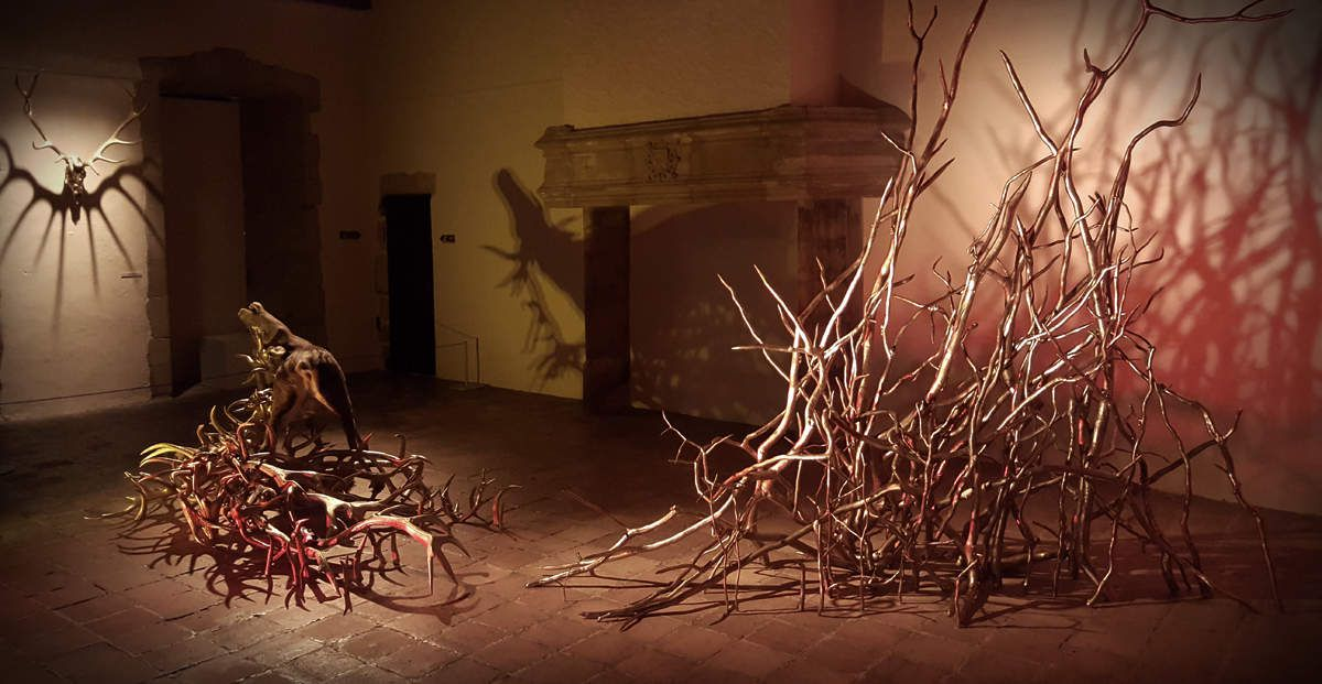 Vanitas Mouches et cerf naturalisés (détail et vue d'ensemble de l'insatallation) / Œuvre work in progress / Dim.12X5m ghyslain bertholon 2007-2016 / Ici au Château-Musée de Tournon........................................... (CLIQUEZ pour aggrandir l'image !)