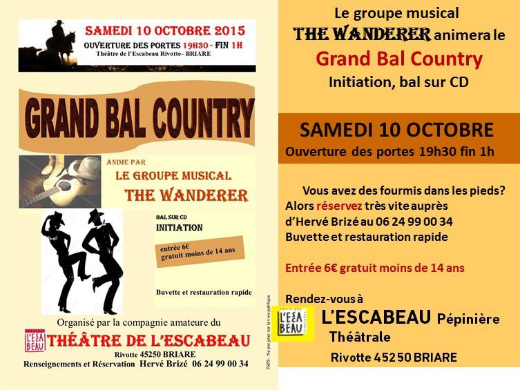 Bal Country samedi 10 octobre 2015 à Briare