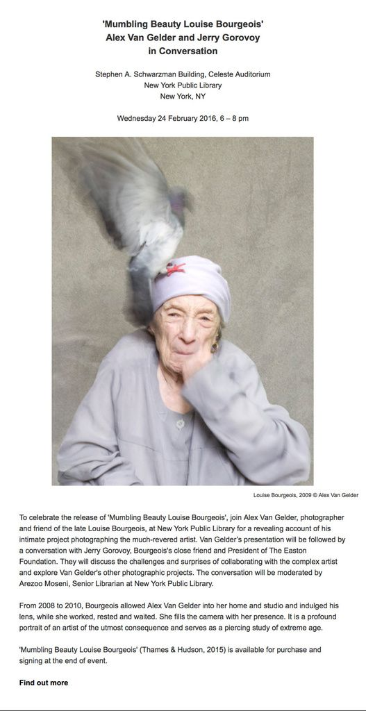 Louise Bourgeois and friends: Alex Van Gelder &amp&#x3B; Jerry Gorovoy in conversation