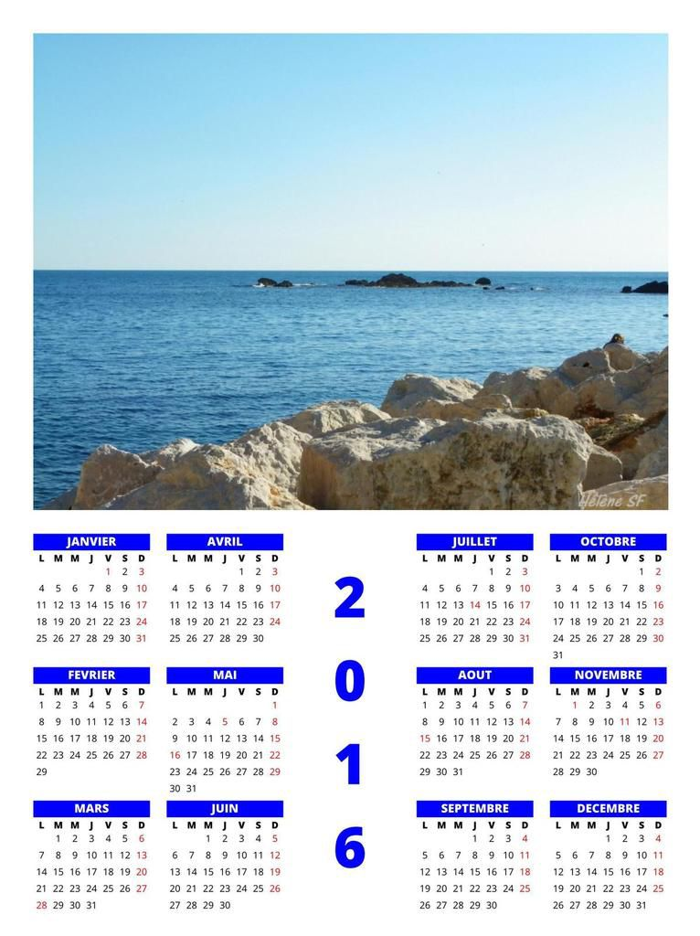 Sept nouveaux calendriers gratuits pour 2016 sur le thème &quot&#x3B;nature et Méditerranée en Provence&quot&#x3B;