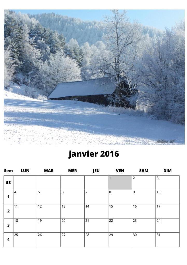 Nouveau calendrier 2016 par mois avec cases à compléter et photos de Provence Alpes gratuit