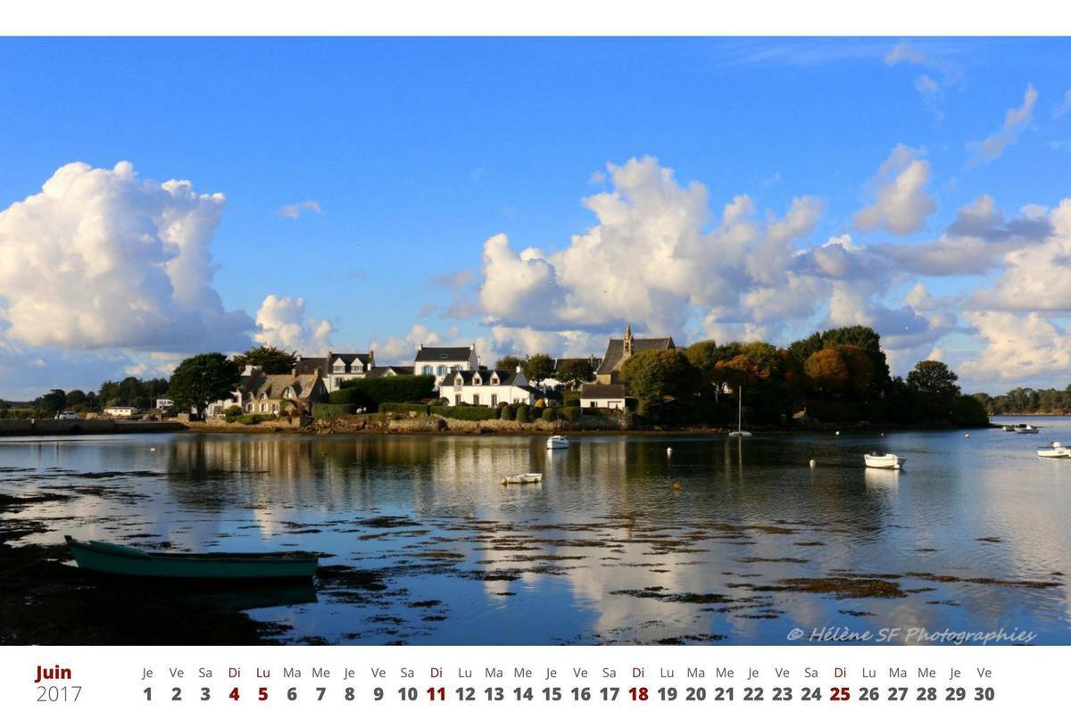 Calendrier 2017 gratuit à imprimer avec photos paysages de Bretagne sud: Morbihan, Ria d'Etel, Quiberon, Erdeven...