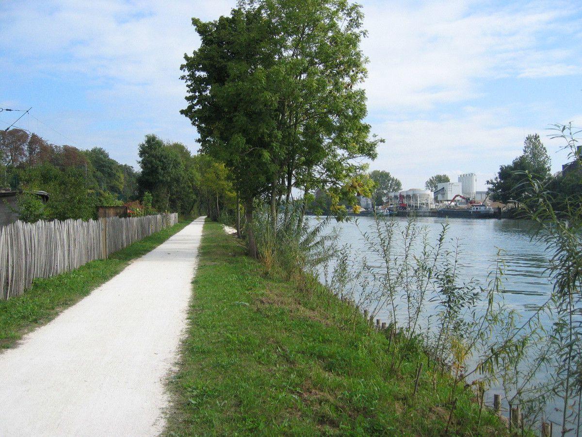 La piste cyclable, rive droite de la Marne