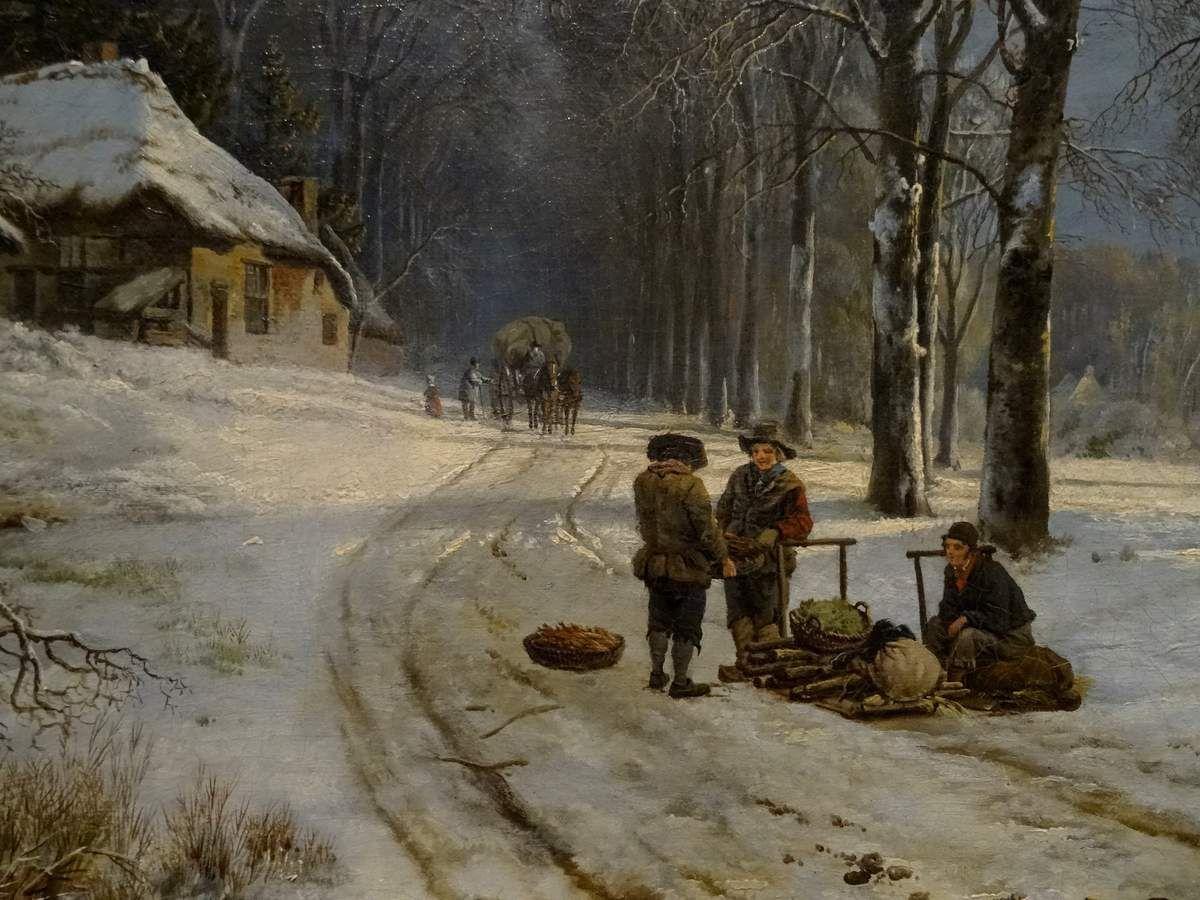 Paysage d'hiver. (Détail). Barend Cornelis Koekkoek c.1835-1838