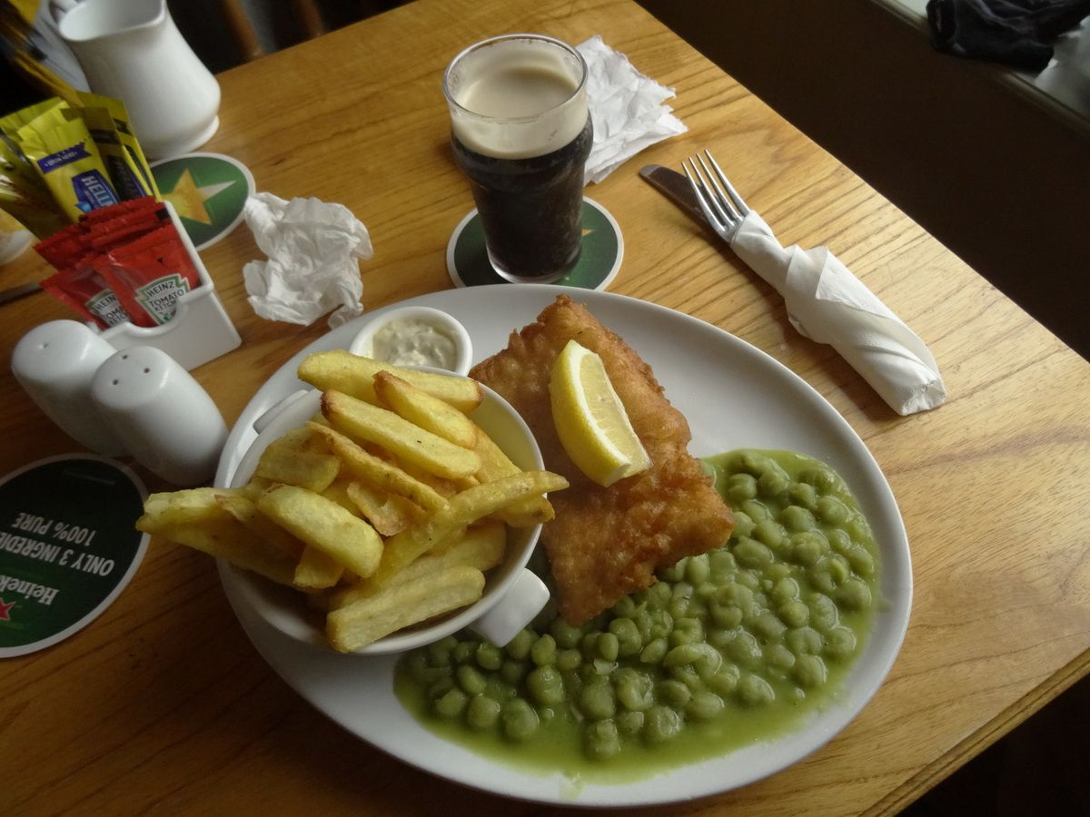 Fish 'n Chips and mushy peas... un régal !