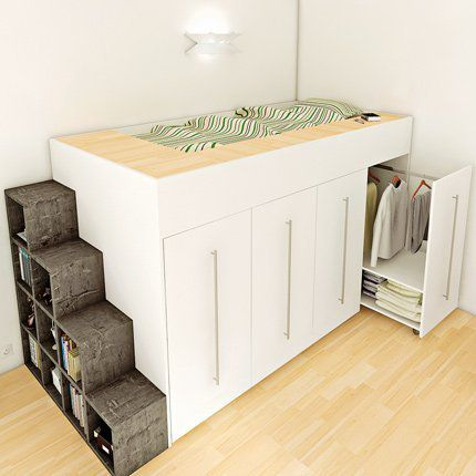 diy un lit dressing gain de place avec des rangements de. Black Bedroom Furniture Sets. Home Design Ideas