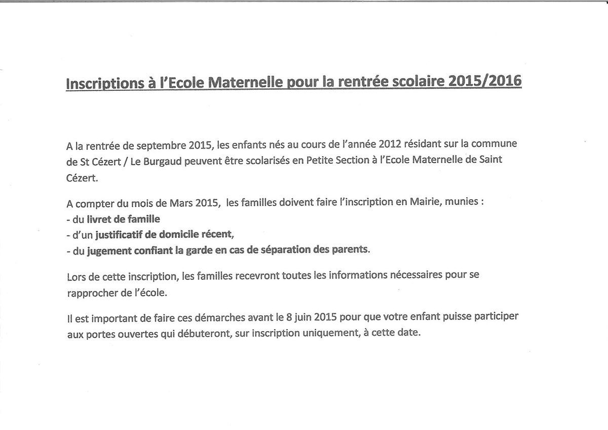RAPPEL IMPORTANT / INSCRIPTION SCOLAIRE