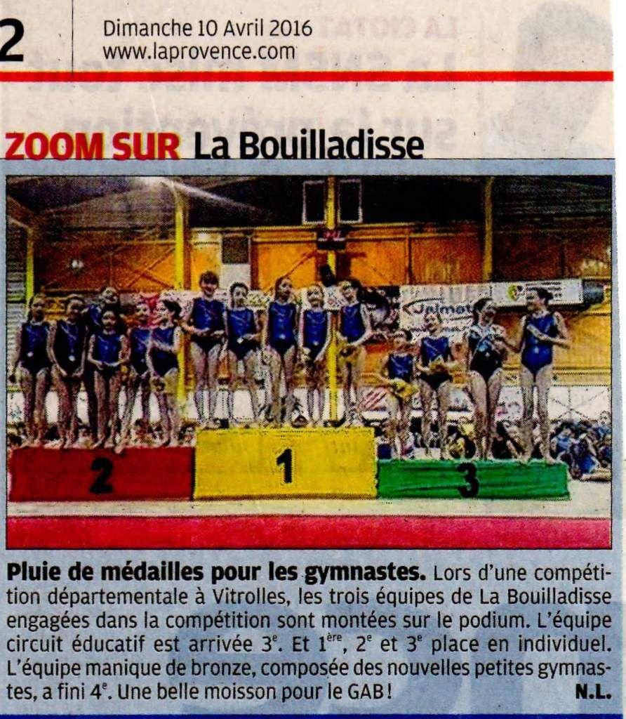Magnifique podium sur le quotidien La Provence !