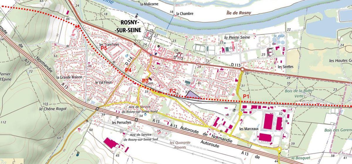 Hypothèse de Tunnel LNPN de Rosny sur Seine au Bois de la Houssaye