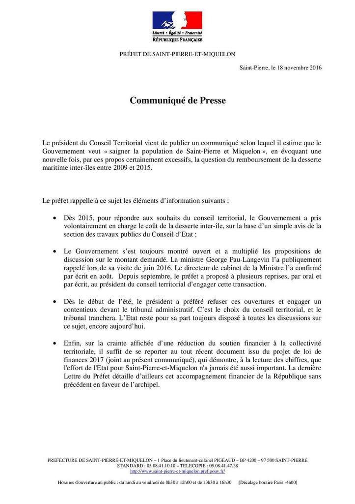 Communiqué de presse du Préfet en date du 18 novembre 2016