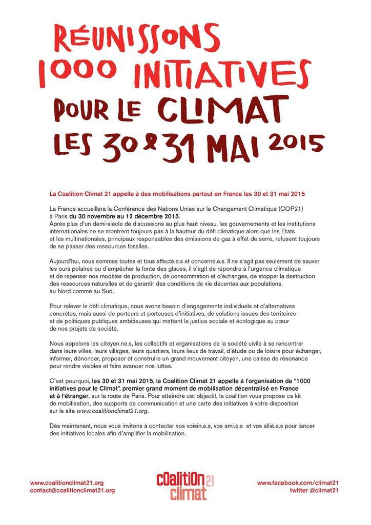 30 &amp&#x3B; 31 mai : Mille initiatives pour le climat