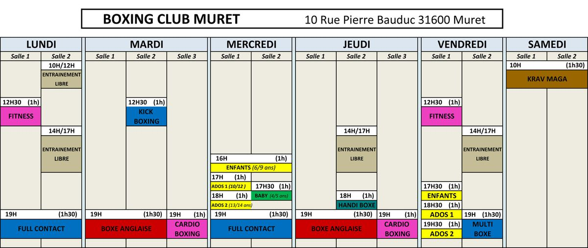 PLANNING BOXING CLUB MURET