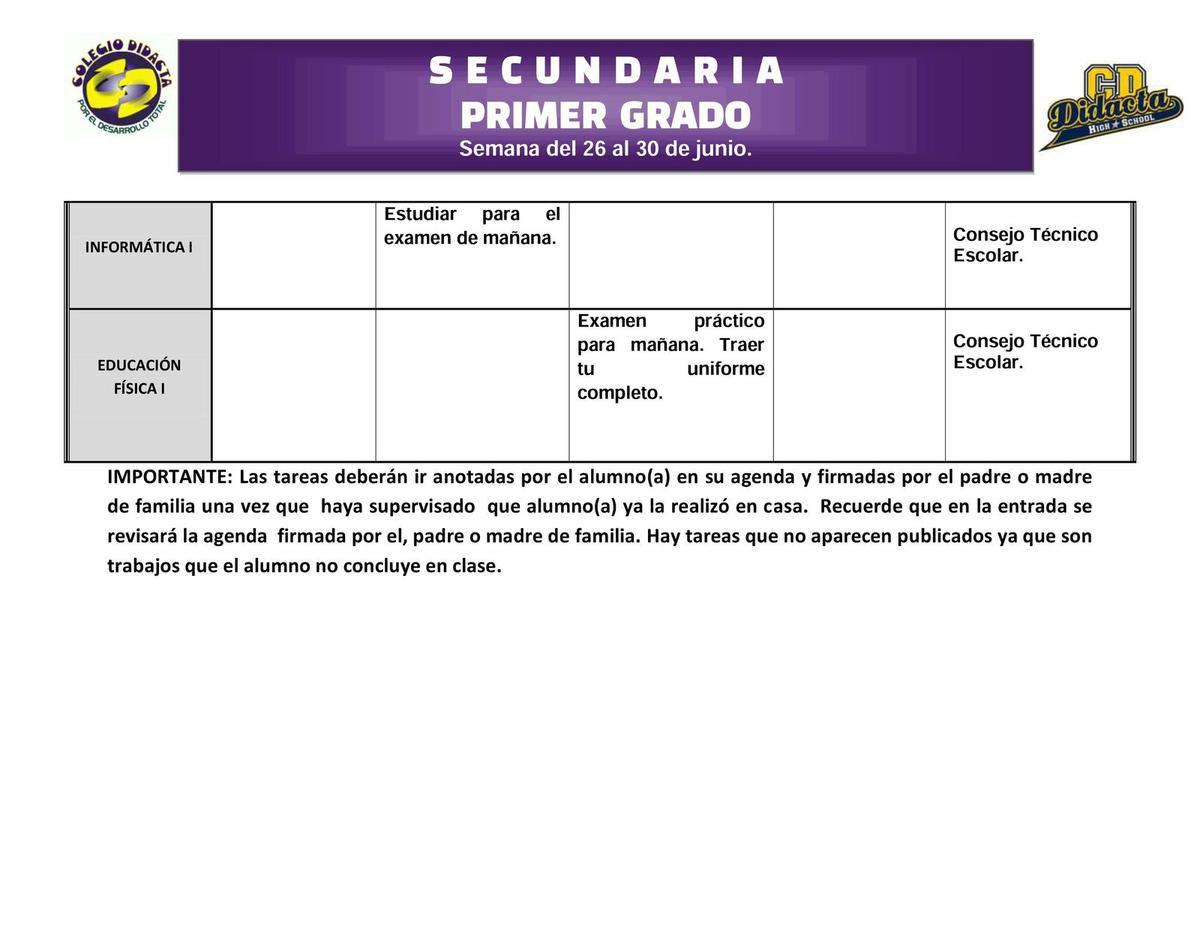 TAREAS DE SECUNDARIA