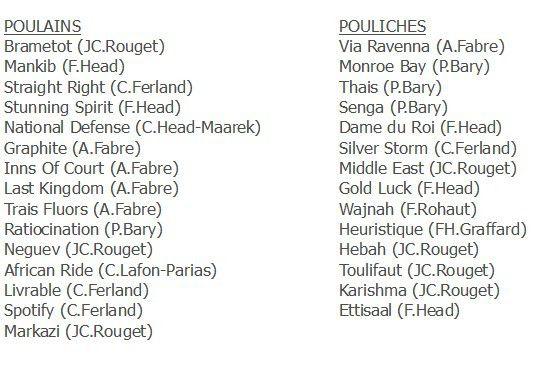 Poules d'Essai (candidatures)