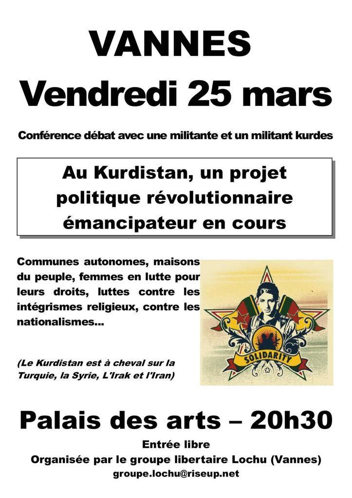 Vannes et Redon : soirées &quot&#x3B;Révolution et résistance au Kurdistan&quot&#x3B;