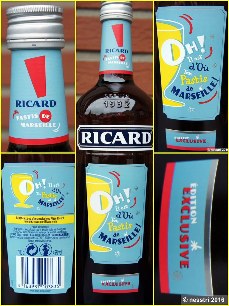 RICARD : bouteille 1 L.  &quot&#x3B;Oh&quot&#x3B; point d'exclamation ROUGE
