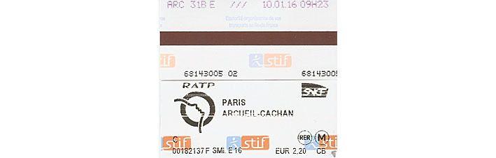 Ticket aller validé, reçus d'achats de tickets de RER