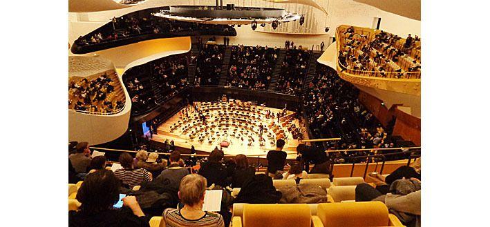 La grande salle de la Philharmonie vue du haut du 2è balcon