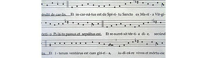 """Extrait du Credo grégorien, noter """"de caelis"""" et non """"de coelis"""""""