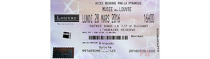 Billet d'entrée au Louvre, avec heure d'arrivée