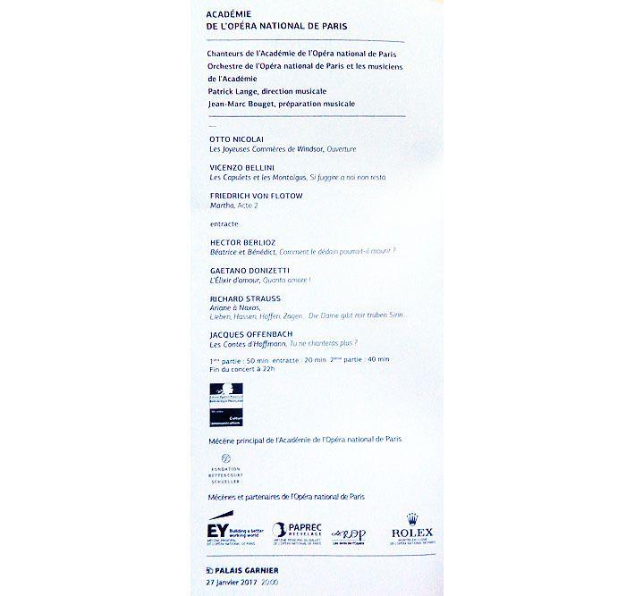 Scènes d'opéra, concert de l'Académie
