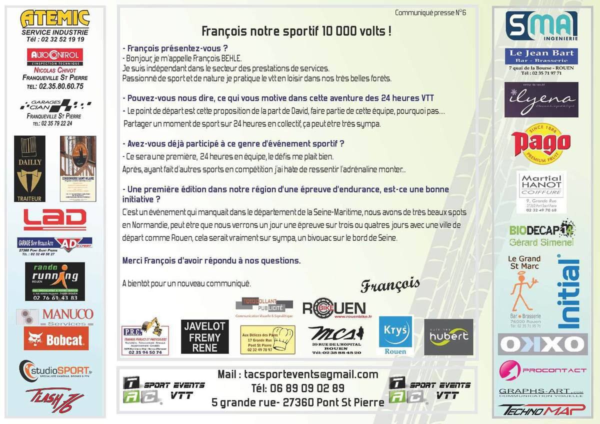 Tac Sport Events VTT - Communiqué N°6 – François notre sportif 10 000 volts !