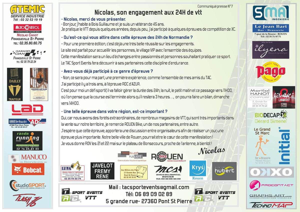 Tac Sport Events VTT - Communiqué N°7 – Nicolas, son engagement aux 24H de VTT