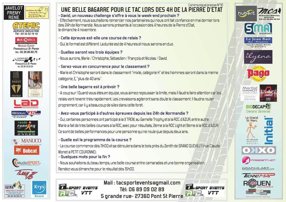 TAC SPORT EVENTS - COMMUNIQUE PRESSE N°10 - UNE BELLE BAGARRE POUR LE TAC LORS DES 4H DE LA PIERRE D'ETAT