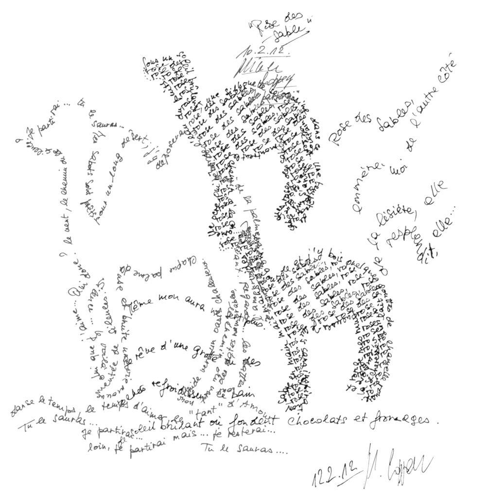 """© Crédits photos : """"Rose des sables"""", poème calligramme de Nicole Coppey."""