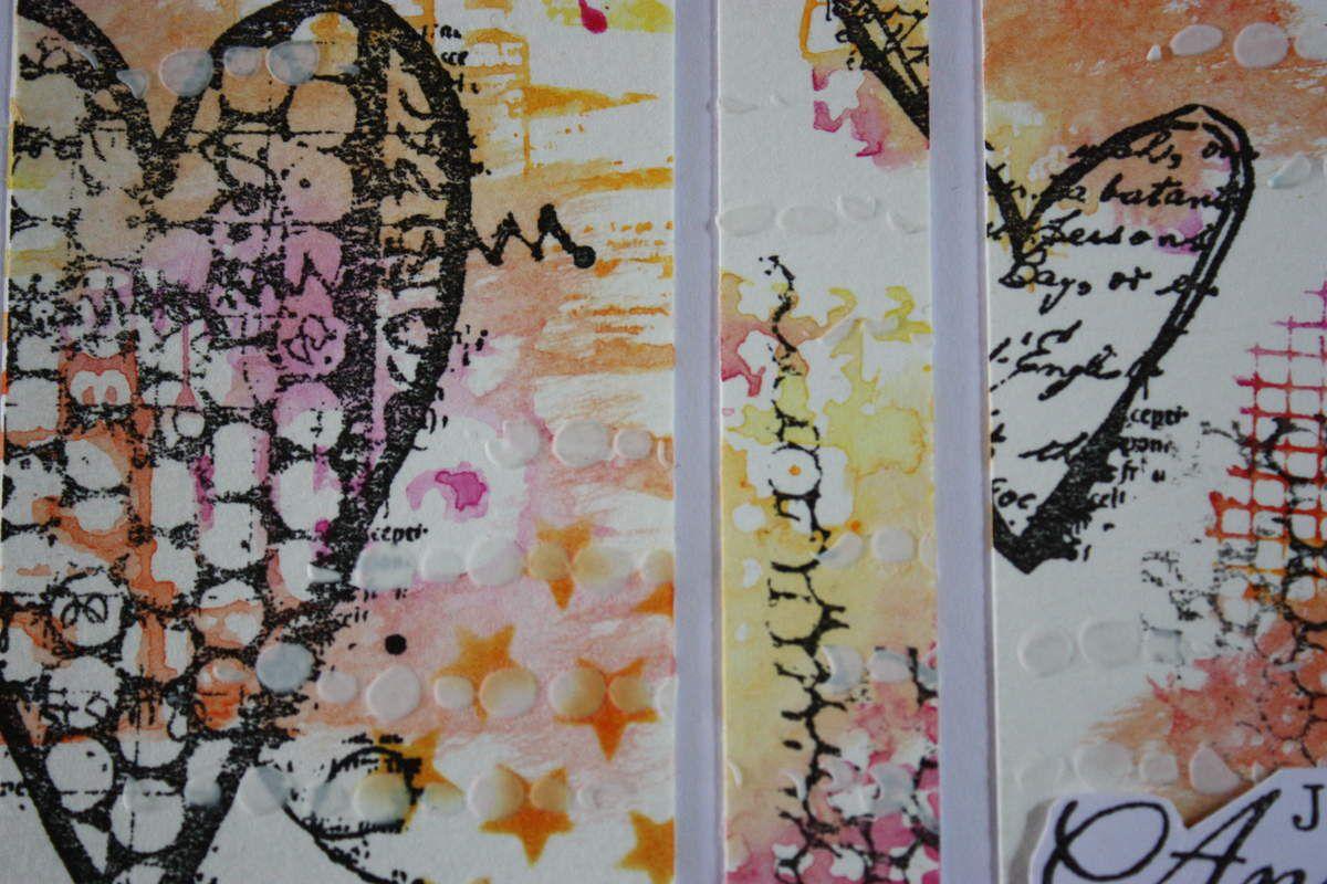 """Tampons """"Ecoute ton coeur"""" de Birgit Koopsen et """"Fleurs"""" d'Azoline pour Carabelle Studio."""