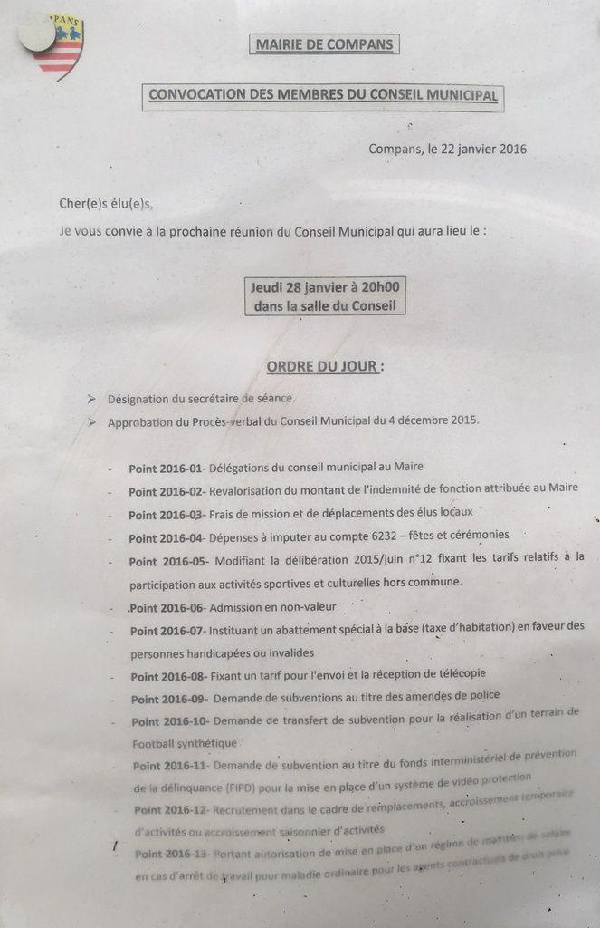 Conseil Municipal de Compans du jeudi 28 Janvier 2015