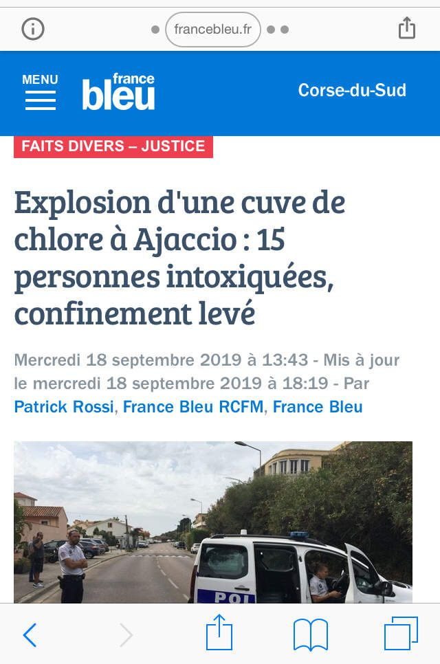 Explosion cuve chlore