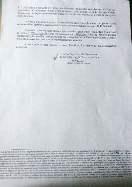 JUDICIAIRE : séance publique le 28 janvier avant l'Arrêt du Conseil d'Etat.