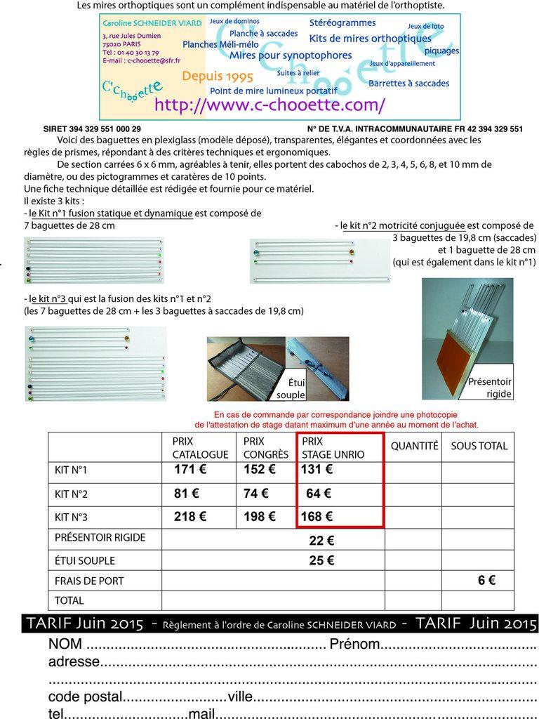 Attention nouveau tarif pour les kits de mires orthoptiques