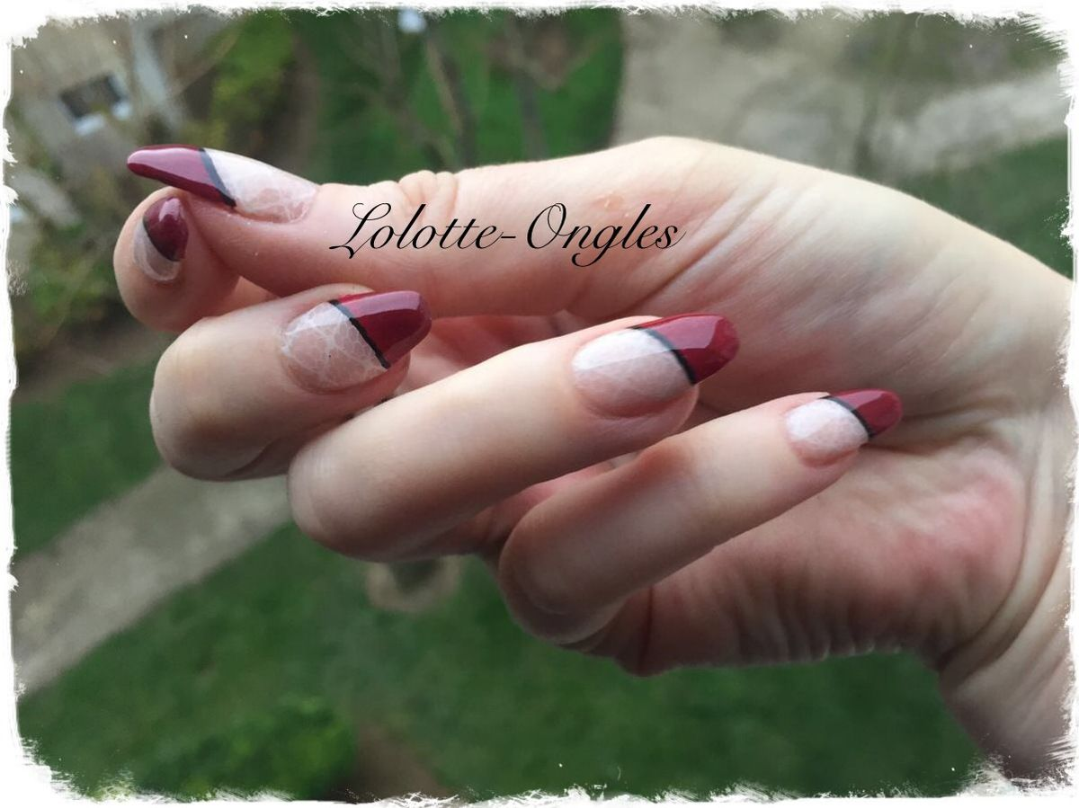 Nail art french en biais et stamping
