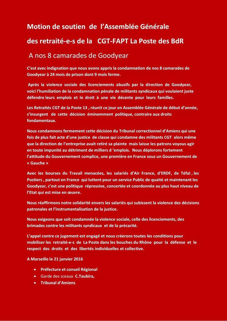 Les Postiers Retraités se mobilisent pour les 8  de Goodyear !