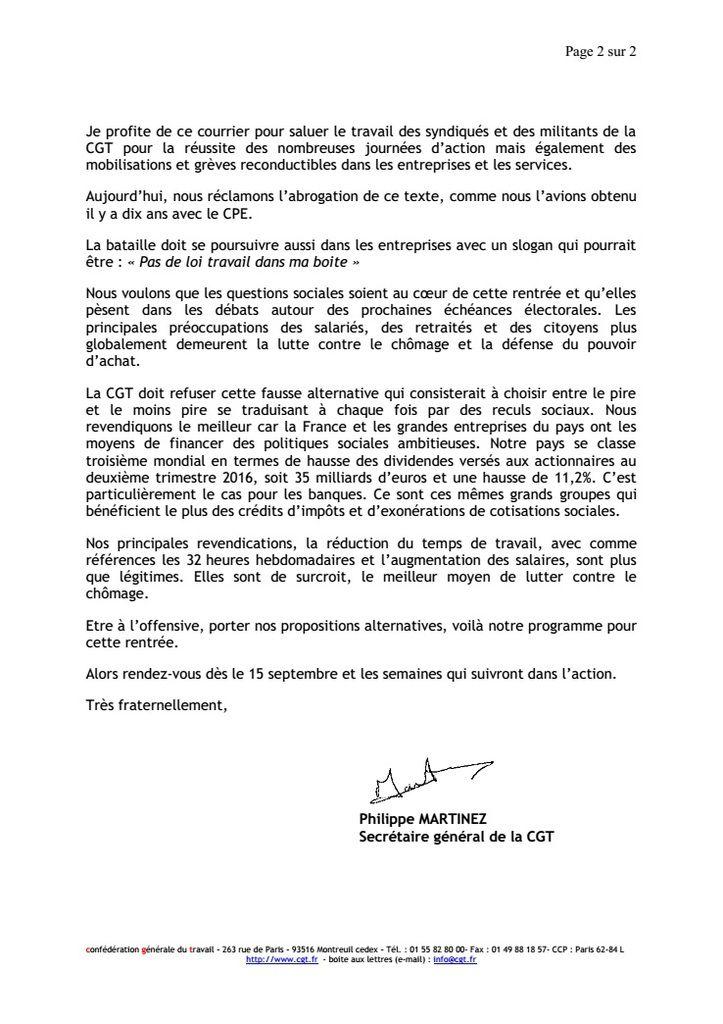 Lettre du Secrétaire Général de la CGT