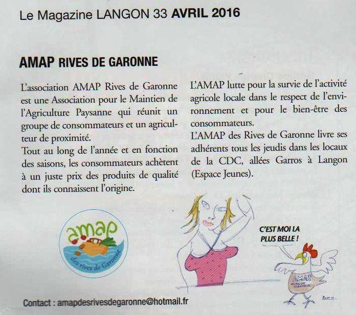L'Amap dans le journal municipal de Langon
