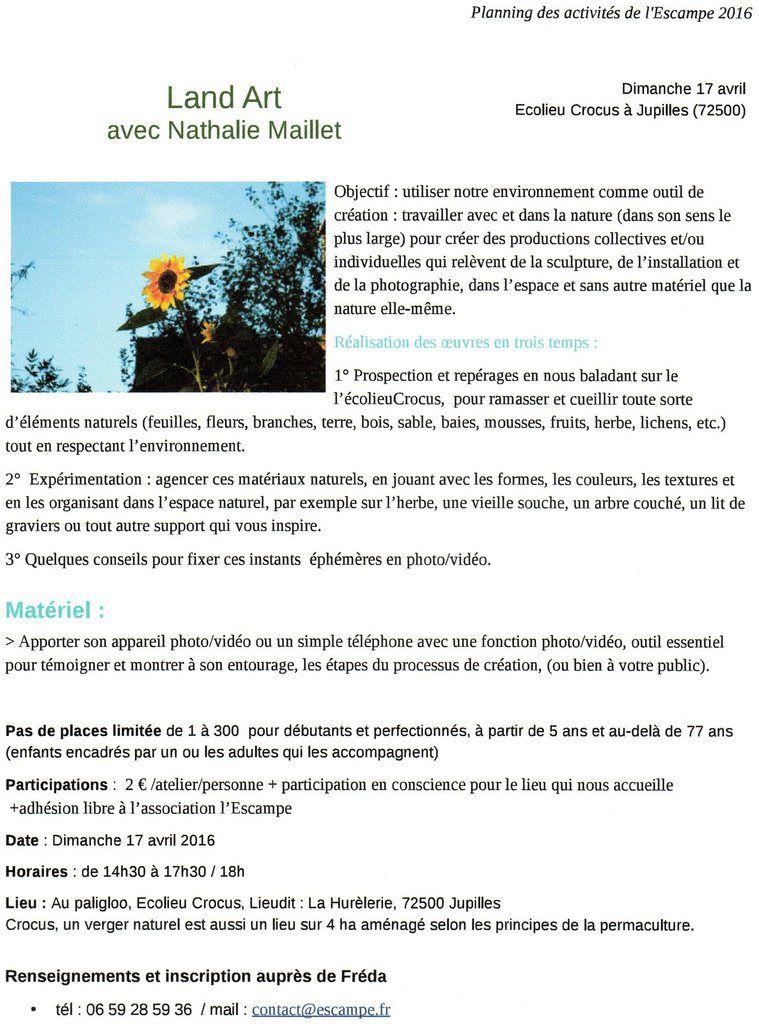 Escampe : &quot&#x3B;Land art avec Nathalie Maillet&quot&#x3B;