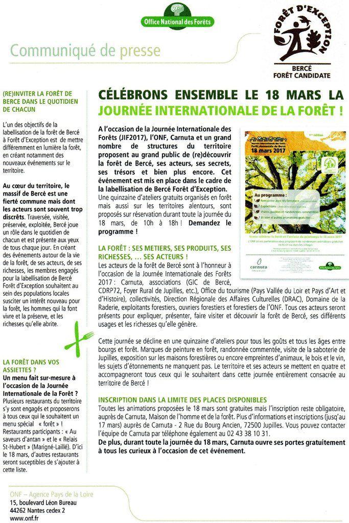 Journée Internationale des Forêts - 1ère édition - 18 mars - Forêt de Bercé - avec la participation du Foyer Rural