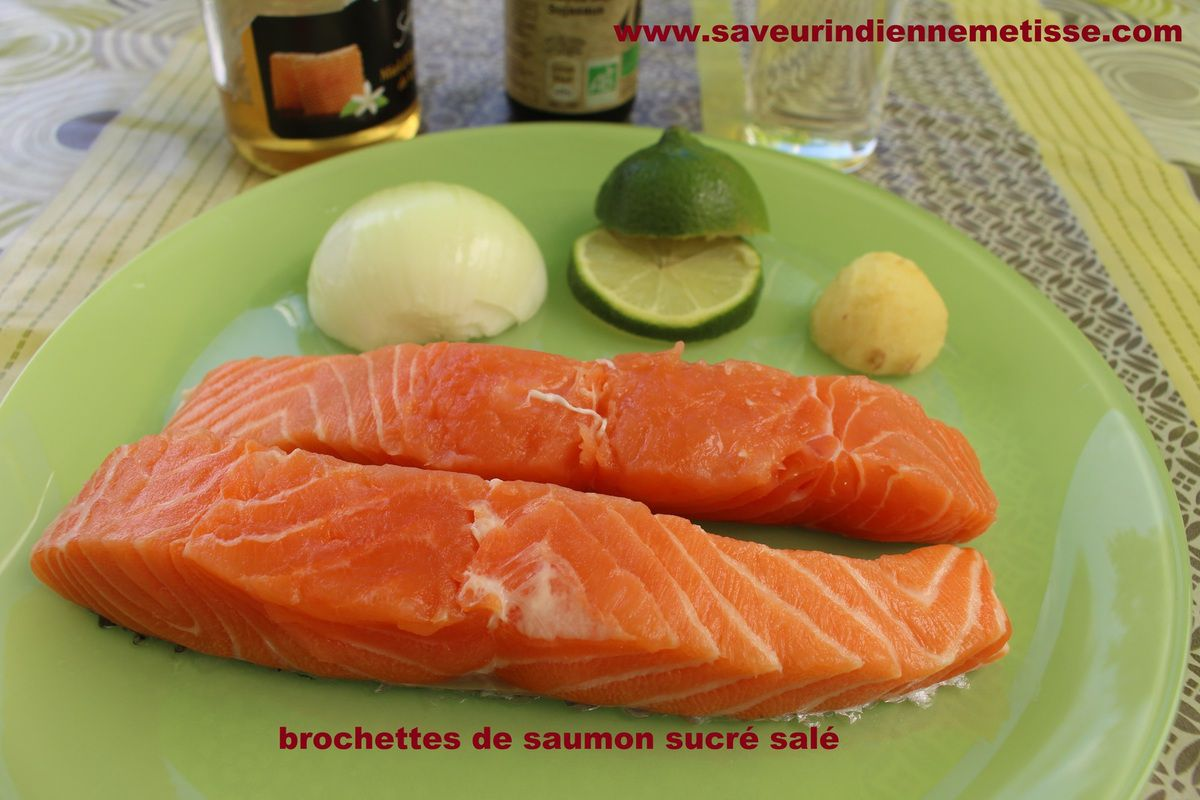 Brochettes de saumon sucré salé