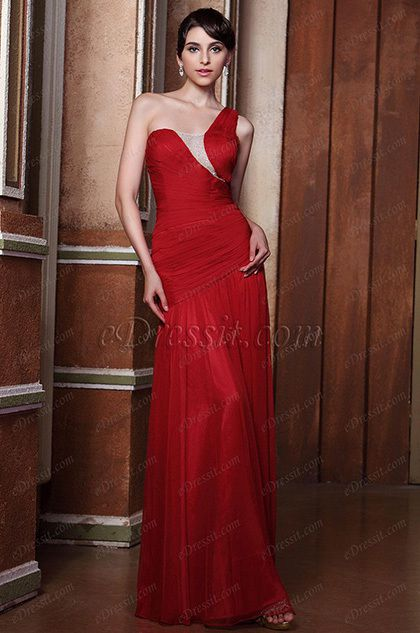 Graceful Red One Shoulder Pleated Evening Gown Bridesmaid Dress