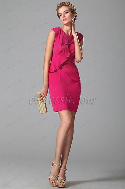 Stylish Short Day Dress With Scalloped Design